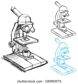 An image of a microscope sketch and line art.