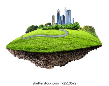 Image of a modern city surrounded by nature landscape