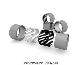 The image of the needle roller bearing on white background, close-up, three collected. The bearing is disassembled. A graphic illustration of the bearing device. 3D rendering on white background