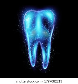 Image of a neon hologram tooth. Medicine concept, new technologies, oral care, dental prosthetics, copy space. 3D illustration, 3D graphics