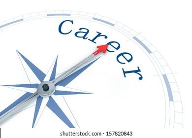 An image of a nice blue compass with the word Career