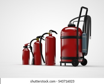 the image of a number of fire extinguishers of different models, large and small, manual equipment for fire fighting, on a white background, 3D rendering