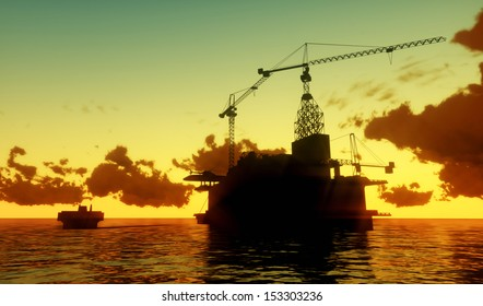 Image of oil platform during sunset.