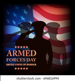 The image on old paper a card by armed forces day.