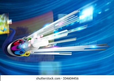 Image of optical fiber with multimedia background
