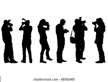 image of people with cameras on a white background