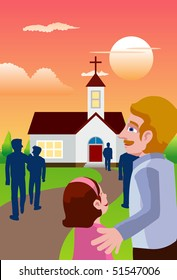 An image of people going in the evening to a chapel to attend mass