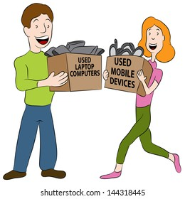 An image of a people holding boxes of used electronics.