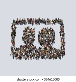 image picture symbol photograph Large group of people, crowd forming various shapes across surface on grayish constant background for posters and advertisement.