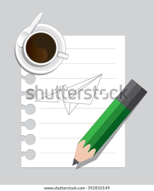 Image Plane On Paper Coffee Pencil Stock Illustration 392810149