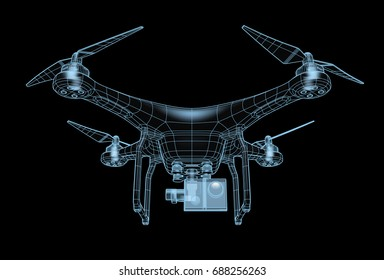 The image of a quadrocopter (drone).  3D illustration. Isolated on black background.