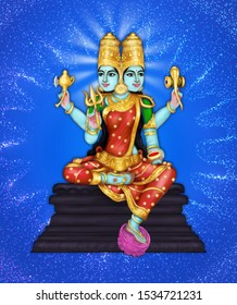 Image of Raagini devi, a 2-headed Hindu goddess worshipped during Navaratri and Durga Pooja