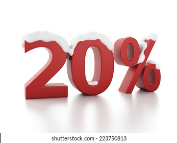 image of red 20% snowy discount. Winter Sale concept