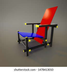 An image of a red and blue chair of the year 1917 by designer Rietveld