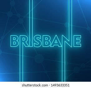 Image relative to Australia travel theme. Brisbane city name in geometry style design. Creative vintage typography poster concept. 3D rendering. Neon bulb illumination