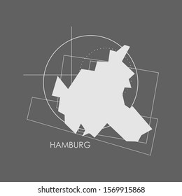 Image relative to Germany travel. Hamburg city map with abstract geometry shapes and lines