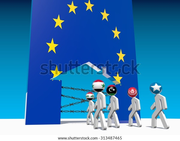 Image relative to migration from africa to european union. Humans icon by national flag textured go to home icon textured by european union flag.