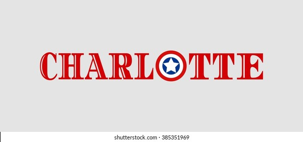 Image relative to USA travel. Charlotte city name with flag colors styled letter O