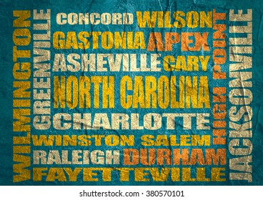 Image relative to USA travel. North Carolina cities and places names cloud. Concrete textured