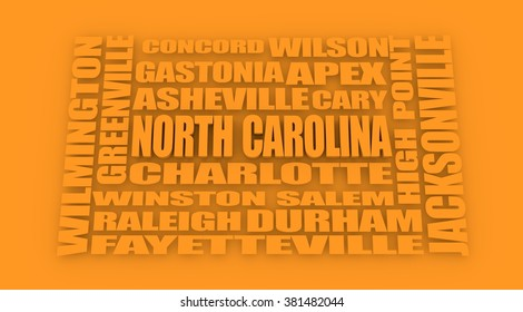 Image relative to USA travel. North Carolina cities and places names cloud.