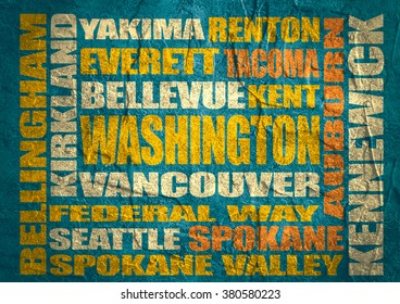 Image relative to USA travel. Washington cities and places names cloud. Concrete textured