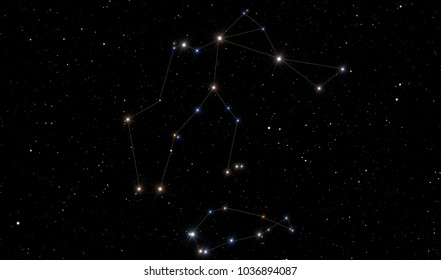 Image representing Aquarius constellation with the Southern Fish in the bottom.