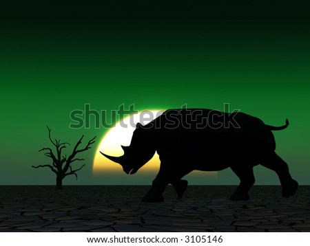 Image Rhino Silhouette African Sky Background Stock Illustration