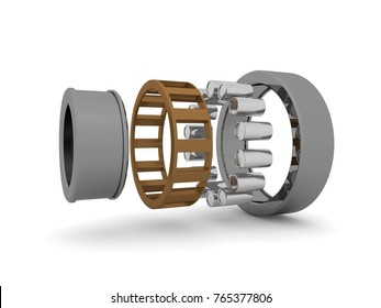 The image roller bearings on white background, closeup. The bearing is disassembled into elements. A graphic illustration of the bearing device. 3D rendering. Isolated, on white background