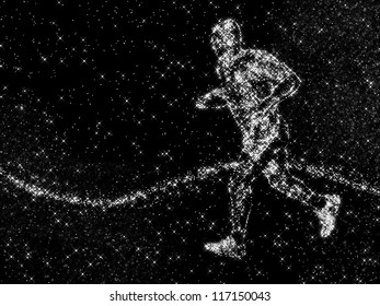 an image of running young athlete made of constellation on black stellar sky