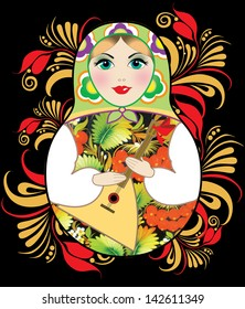 Image of russian doll with balalaika on traditional arty background.