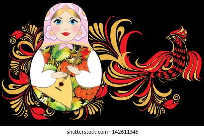 Image of russian doll with Hohloma traditional paint.