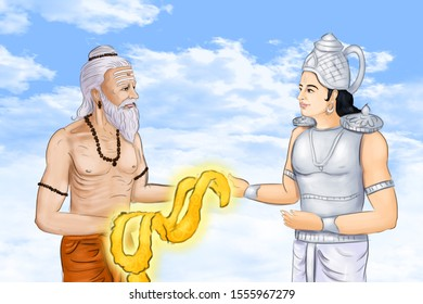 Image of Sage Durvasa giving a garland to Lord Indra