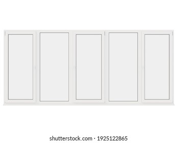 The image of the sample window on white background. 3D Rendering