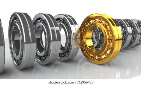 the image series chrome-plated ball bearings and one bearing gold, set of spare movement parts. The idea the best choice, quality. Illustration with depth of field on white background. 3D rendering