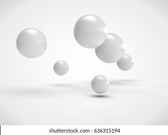 The image of the set of balls of different size, white color, randomly located in space. Image isolated on a white background. 3D rendering
