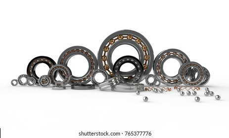 the image of a set of bearings, different types and sizes, close-up, isolated on white background. Illustration of bearings for  for trade and business. 3D rendering