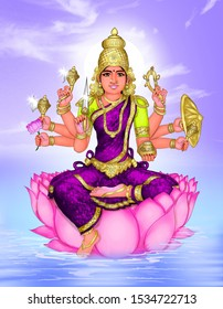 Image of Shivathuthi devi, an 8-armed Hindu goddess worshipped during Navaratri and Durga Pooja