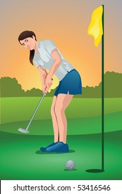 An image showing a woman golf player putting the ball into the hole