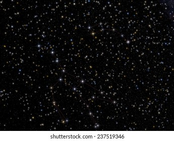The image shows the constellations Ursa Major and Ursa Minor. North Star is the bright star in the upper right, the last star belonging to Ursa Minor.