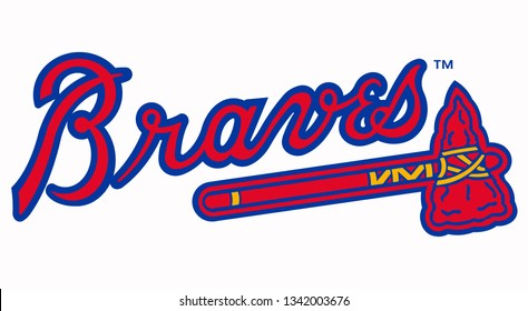 The image shows the emblem of the Atlanta Braves baseball club. USA