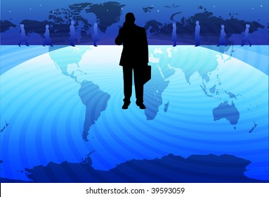An image of a silhouetted businessman talking on a mobile phone holding a briefcase and standing on a globe