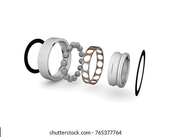 Image single row ball bearing on white background, closeup. The bearing is disassembled into elements. A graphic illustration of the bearing device. Isolated, on white background
