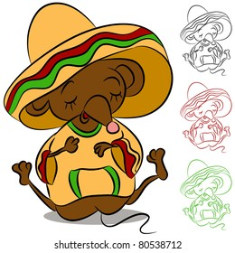 An image of a sleeping mouse wearing sombero and poncho.