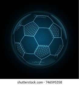 Image of a soccer ball made of illuminated shapes. Sport illustration consisting glowing lines, points and polygons in the form of football ball. Abstract 3D neon wireframe concept.