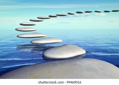 An image of some nice step stones in the sea going up in the blue sky