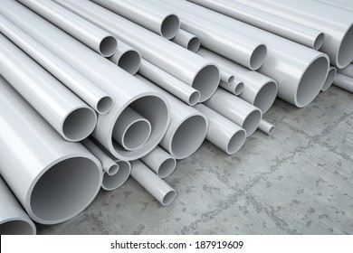 An image of some plastic pipes in a warehouse