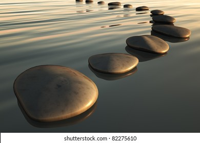 An image of some step stones to the sunset