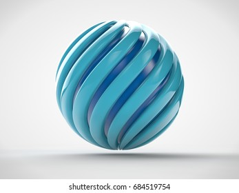The image of a sphere formed by blue spiraled ribbons, inside of which is the blue ball. The idea of harmony and perfection, success and prosperity. 3D rendering on white background.
