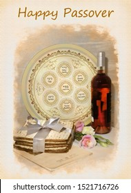 image of spring holiday of Passover and its attributes, with bottle of wine, seder plate, matzo and Haggadah in Hebrew - Happy Passover. processed in a graphic editor as an retro photo or old postcard