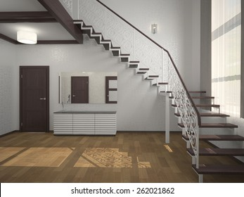 Image staircase in the lobby 3d rendering